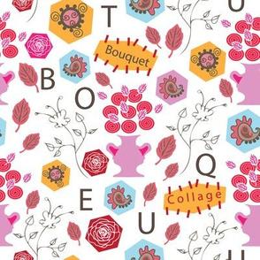 Bouquet Collage-Flowers in Bloom Pattern.