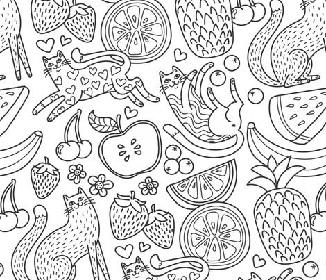 fruity felines! fabric by pinkowlet on Spoonflower - custom fabric
