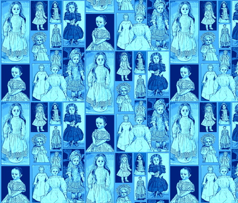 Antique Dolls in Cornflower Blue and Forget me not fabric by artland95 on Spoonflower - custom fabric