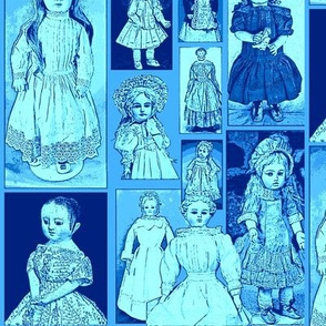 Antique Dolls in Cornflower Blue and Forget me not