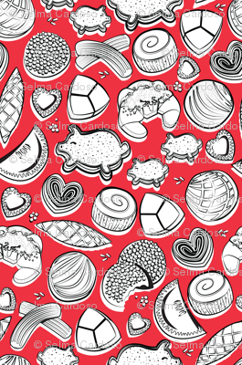 Mexican Sweet Bakery Frenzy // red background black and white pan dulce
