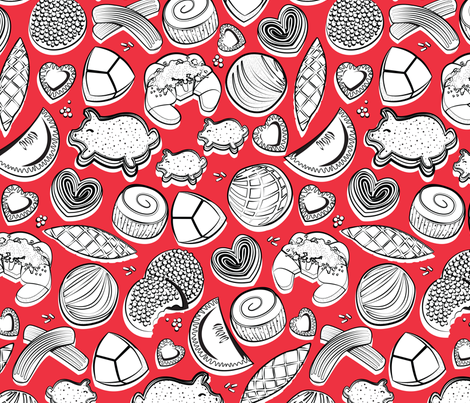 Mexican Sweet Bakery Frenzy // red background black and white pan dulce fabric by selmacardoso on Spoonflower - custom fabric
