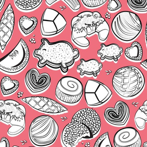 Mexican Sweet Bakery Frenzy // rose pink background black and white pan dulce