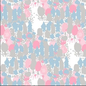pink forest - pink, blue and grey