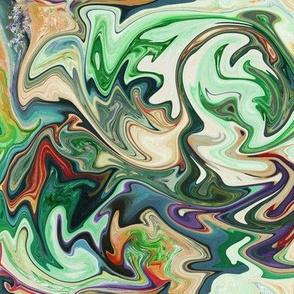 BNS3 - Marbled Mystery Swirls in greens - beige - orange - medium scale