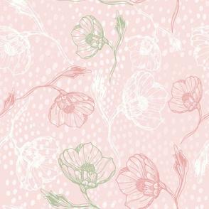 Vintage rose-outline-pinkdots