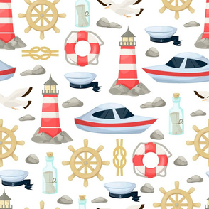 nautical ocean life pattern
