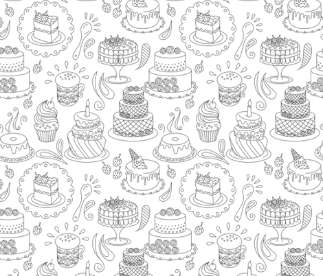 The Lake Cake fabric by kidimais on Spoonflower - custom fabric