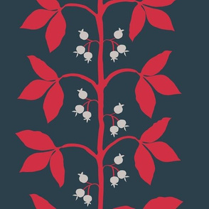 Berry Vine in red, tan and ink