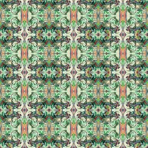 BNS3 - Marbled Mystery Tapestry in Minty Green, Rusty Orange and Cream - Small Scale