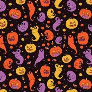Cute Halloween Cartoon Ghost and Pumpkin Pattern