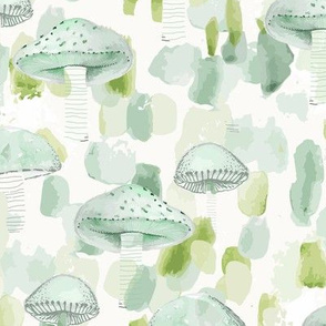 Painterly Mushroom Blue & Green Nature