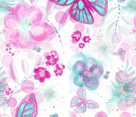 Butterflies among the flowers fabric by odettel on Spoonflower - custom fabric