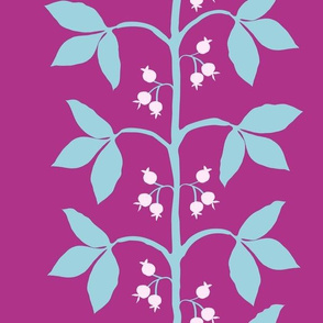 Berry Leaf Stripe in Aqua Magenta