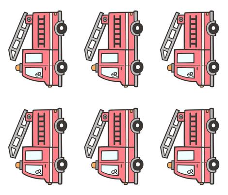 Fire Engine Pillow Plush Plushie Softie Cut & Sew fabric by caja_design on Spoonflower - custom fabric