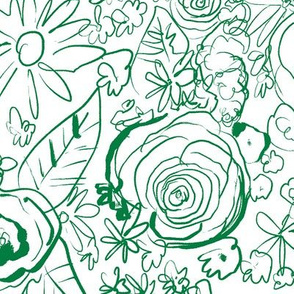 In The Garden Sketchy Floral // Kelly Green