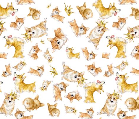 cute corgi,small white fabric by masha_by_masha on Spoonflower - custom fabric