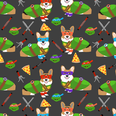 Teenage mutant corgis - cute dogs in costumes, cosplay, comics, comic-con, halloween, dog, dogs, - charcoal fabric by petfriendly on Spoonflower - custom fabric