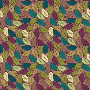 LEAVES ON ROSY BROWN