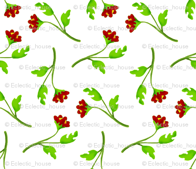 Retro Tossed Flower Sprigs Red on White