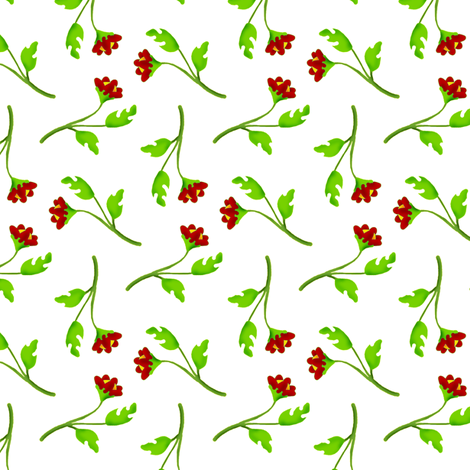 Retro Tossed Flower Sprigs Red on White fabric by eclectic_house on Spoonflower - custom fabric