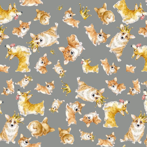 corgi pattern small gray
