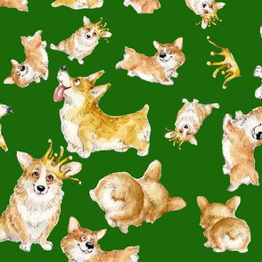 corgi queen, green