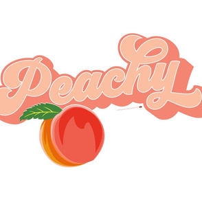 Peachy Tea Towel* || peach typography 70s 1970s seventies retro groovy vintage cut and sew kitchen summer fruit