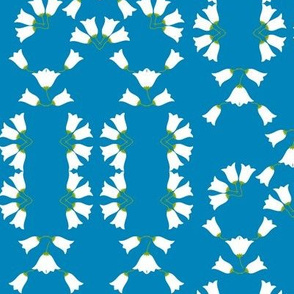 1920s Floral lily of the Valley  Art Deco Fleurs de muguet sur Fond Bleu