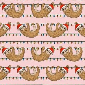 christmas sloth // cute xmas holiday christmas fabric, sloth, father christmas, santa claus, cute animals - pink