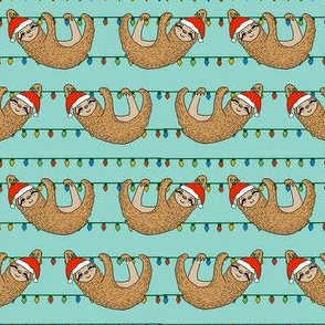 christmas sloth // cute xmas holiday christmas fabric, sloth, father christmas, santa claus, cute animals - blue