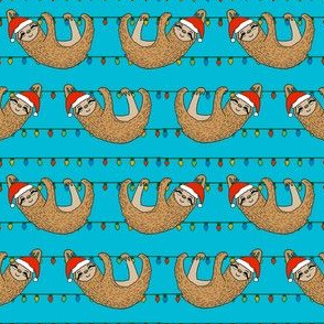 christmas sloth // cute xmas holiday christmas fabric, sloth, father christmas, santa claus, cute animals - teal