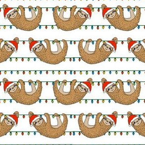 christmas sloth // cute xmas holiday christmas fabric, sloth, father christmas, santa claus, cute animals - white