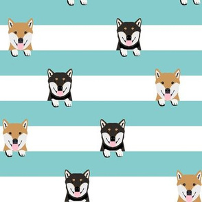 shiba inu stripes fabric - cute black and tan and tan dog, dogs, pets, pet dog fabric