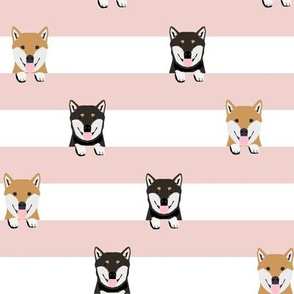 shiba inu stripes fabric - cute black and tan and tan dog, dogs, pets, pet dog fabric - pink