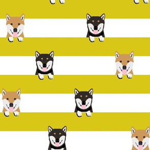 shiba inu stripes fabric - cute black and tan and tan dog, dogs, pets, pet dog fabric - yellow