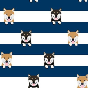 shiba inu stripes fabric - cute black and tan and tan dog, dogs, pets, pet dog fabric - navy
