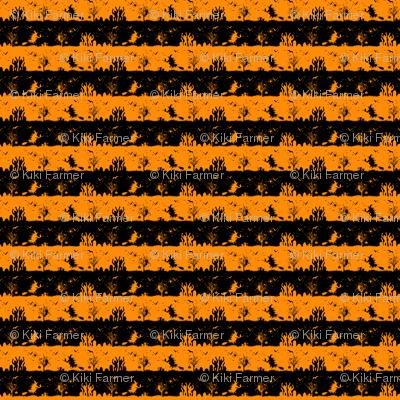 Pale Pumpkin Orange and Black Halloween Nightmare Stripes