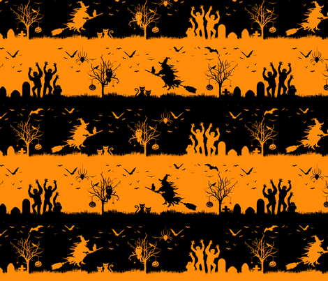 Pale Pumpkin Orange and Black Halloween Nightmare Stripes  fabric by paper_and_frill on Spoonflower - custom fabric