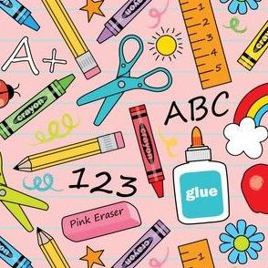 school-supplies on-pink