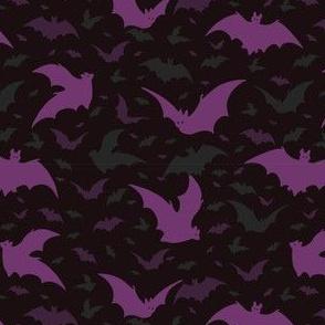Flying Purple Halloween Bats Vector Pattern