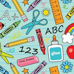 school supplies-on-teal