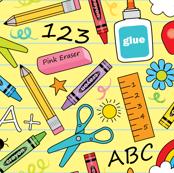 school supplies-on-yellow