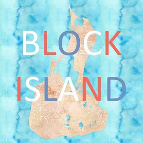 Block Island watercolor map 18x18