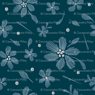 stitched flowers navy
