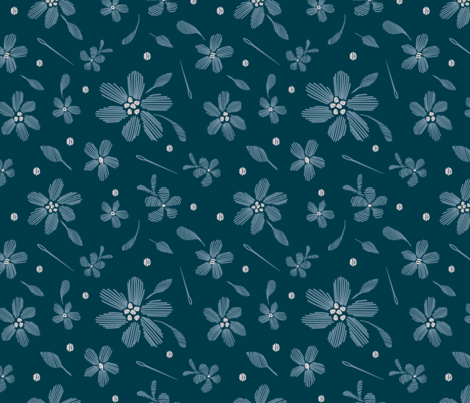 stitched flowers navy fabric by cassandra_riley on Spoonflower - custom fabric