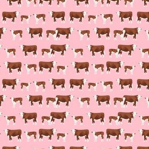 SMALL - hereford cattle and calf fabric farm fabrics - pink