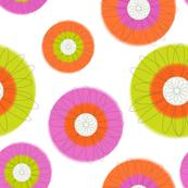 Modern Botanical - green, pink, orange