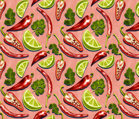 Flavours of Mexico  - pink fabric by new_branch_studio on Spoonflower - custom fabric