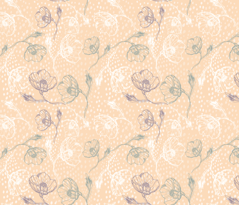 Vintage rose peach fabric by jac_slade on Spoonflower - custom fabric